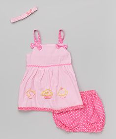 Pink Stripe Cupcake Dress Set - Infant | zulily