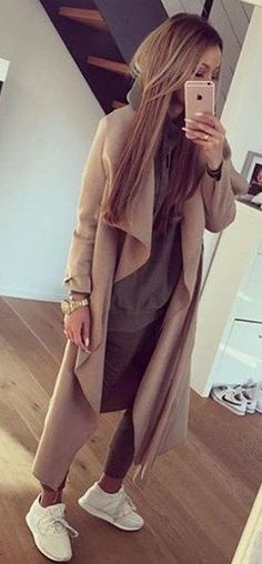 #fall #outfits · Camel Coat // Sneakers // Grey Sweater & Pants