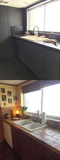 What a can of black paint can do! Counter tops and floors: high gloss black epoxy. Cabinets: flat black. Briggs Edward Solomon