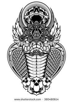 Immagine vettoriale stock 380480614 a tema Cobra Skull Vector (royalty free) Daddy Tattoos, Tattoo T Shirts, Tattoos For Guys, Tatoos, Headdress Tattoo, Cobra Tattoo, Hindu Tattoos, Ouroboros Tattoo, Anubis Tattoo