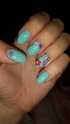 Flowers design, funny summer nails