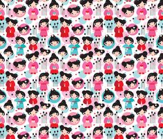 Geisha girls fabric by littlesmilemakers on Spoonflower - custom fabric