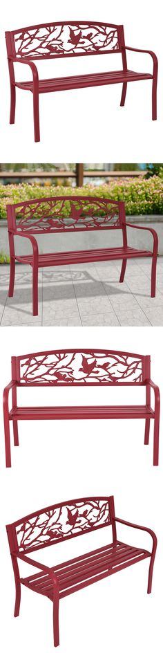 Benches 79678: Patio Garden Bench Park Yard Outdoor Furniture Cast Iron  Porch Chair Red