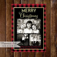 Gold Glitter and Buffalo Plaid 3 Photo Christmas Card, Buffalo Check Christmas…