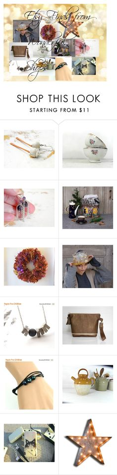 """""""Etsy Finds from Wonderful Shops"""" by cbange ❤ liked on Polyvore featuring Shades of Grey by Micah Cohen and Vintage Marquee Lights"""