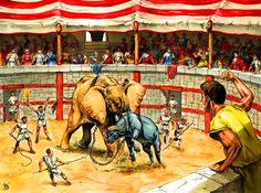 Elephant fighting against a buffalo in a Roman circus