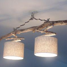 Lustre/plafonnier en bois flotté - lin 25cm - création unique - double suspension - led