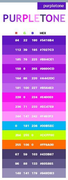 Purple tone web colors. site has free color schemes for crochet color palette ideas! <3 love