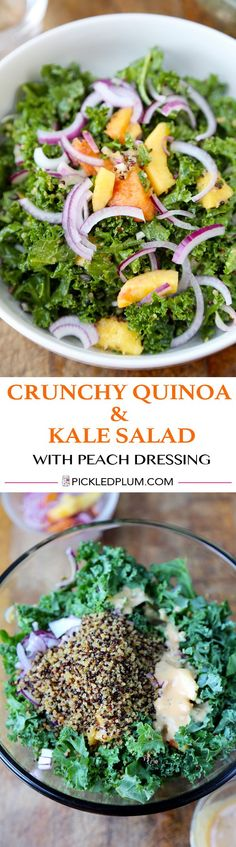 Crunchy Quinoa and Kale Salad with Peach Dressing - vegan and gluten-free recipe http://www.pickledplum.com/crunchy-quinoa-and-kale-salad-recipe/