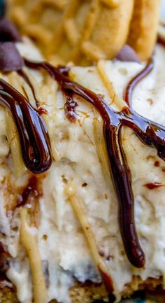 No Bake Frozen Peanut Butter Pie with Hot Fudge