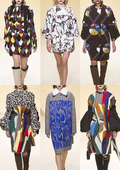 MARNI | Rough Harlequin Pattern – Geometric Collage – Beaded Marbling – Monochrome Floral – Swirling 70's Prints – Simplistic Motifs – Gingham – Giant Sequin Embellishments – Over-scaled Optical Check | MILAN | http://vogue.co.uk