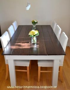 Dining table DIY - with a grey stain top.  Instructions are in another language, but pictures make it fairly straight forward.