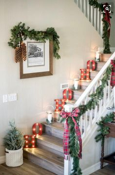 Decorating for the holidays isn't just for outside the home. Light up your staircase for Santa with letter lights!