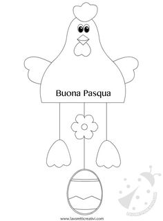 ADDOBBI DI PASQUA CON LA CARTA Sagome utili per realizzare una gallina con l'uovo da attaccare alle porte o ai vetri delle finestre di scuola nel periodo d Felt Crafts, Easter Crafts, Diy And Crafts, Crafts For Kids, Craft Patterns, Sewing Patterns, Chicken Crafts, Shape Posters, Farm Art