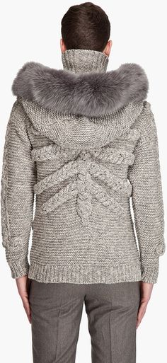 Alexander Mcqueen Hooded Skull Sweater in Gray for Men (ivory) - Lyst