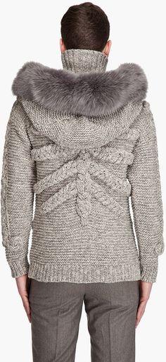Alexander Mcqueen Hooded Skull Sweater in Gray for Men (ivory) - Lyst