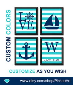 personalized baby nursery decor nautical love boy nursery gift ideas baby boy nursery kids playroom decor toddler decor sail boat kid art by PinkeeArt, $29.00