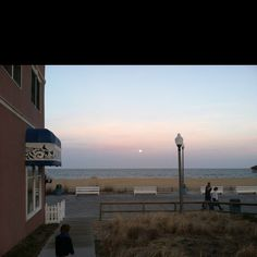 Rehoboth Boardwalk while the moon is rising!!!