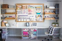 Check out this colorful and organized craft room makeover with a giant pegboard and get inspired by dozens more craft rooms! Check out this colorful and organized craft room makeover with a giant pegboard and get inspired by dozens more craft rooms! Craft Room Storage, Pegboard Craft Room, Pegboard Storage, Sewing Room Organization, Kitchen Pegboard, Pegboard Display, Tool Storage, Studio Organization, Paper Storage