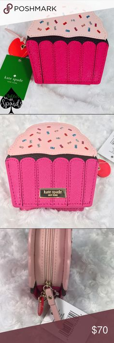 "KSNY Take the Cake Cupcake Coin Purse This adorable cupcake coin purse is perfect for stashing your pennies, your credit cards, IDs, secret love notes, or even jewelry! Zip around closure, with a gold staple KSNY signature.   ♠️ Crosshatched leather with matching trim ♠️ Capital Kate Jacquard lining ♠️ 4.3"" H x 4.2"" W x 1.2"" D  CLOSET RULES ♠️ I do not trade ♠️ I do not conduct any transactions off Poshmark ♠️ Please use offer button to negotiate kate spade Bags Wallets"