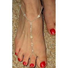 shixin® klassieke handgemaakt kristal zilver op blote voeten sandaal (1 st) – EUR € 5.99 Cheap Body Jewelry, Beaded Sandals, Bare Foot Sandals, Other Accessories, Barefoot, Chain, Beads, Crystals, Classic