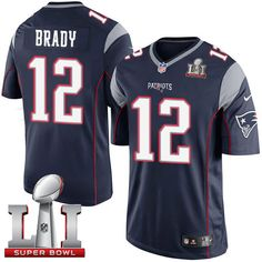 Nike Patriots #12 Tom Brady Navy Blue Team Color Super Bowl LI 51 Men's Stitched NFL Limited Jersey