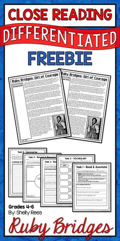 free reading comprehension passage a ruby bridges worksheet comprehension reading and. Black Bedroom Furniture Sets. Home Design Ideas