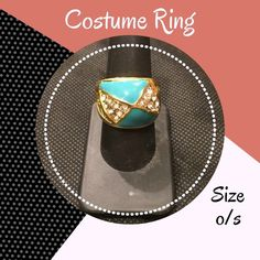 • Aqua and Gold Ring Aqua and Gold ring • Crystal trim • Size is about an 8/9 • Excellent condition! No rips, stains, holes or other damages • All items come from a pet & smoke free home • My prices fluctuate from time to time so catch items when prices are low • I accept REASONABLE offers and I discount bundles • Not interested in trading or selling items off PoshMark • ✌🏻️❤️🛍 Jewelry Rings