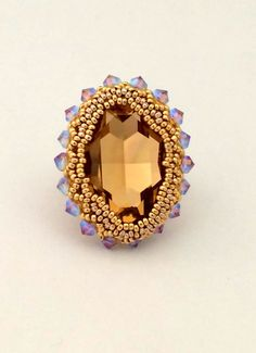 Swarovski Ring / Beaded Jewelry / Beaded Ring / Beaded by Ranitit