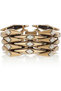 Oscar de la Renta  24-karat gold-plated link bracelet