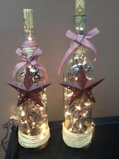 Rustic wine bottle light