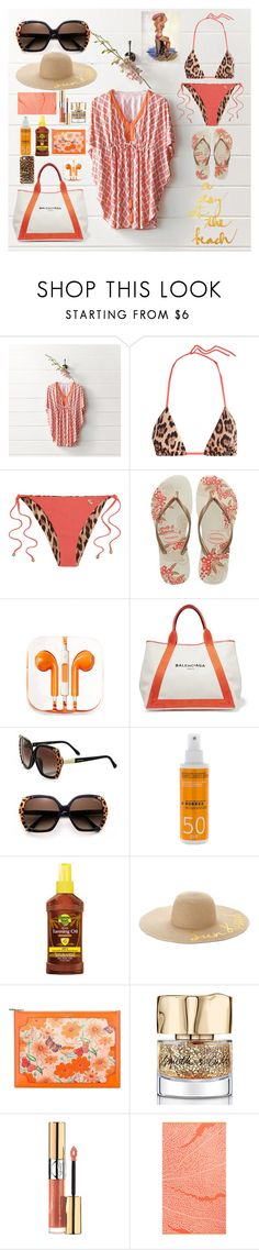 """""""A day at the beach"""" by afinediime ❤ liked on Polyvore featuring Frontgate, Roberto Cavalli, Havaianas, PhunkeeTree, Balenciaga, Korres, Ballantyne, Banana Boat, SONOMA Goods for Life and Aspinal of London"""