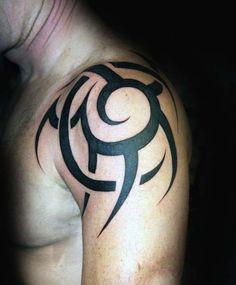 Shoulder Traditional Tribal Sun Black Ink Tattoos For Guys
