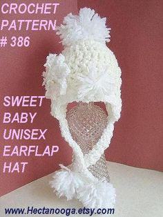 CROCHET PATTERN baby hat num 386 . Sweet Baby Unisex EarFlap Hat... newborn to age 3, permission to sell your hats
