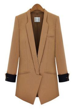 Shawl Collar Cuffed Sleeve Blazers OASAP.com