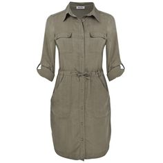Lazy Lu Shirt Dress, Khaki via Polyvore
