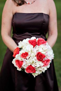 A bouquet of white hydrangea, pink roses!!!