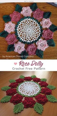 Rose Doily Flower Free Crochet Pattern is to DIY impressive and beautiful doily. White color for the center part, romantic Rose flowers and leaves around. Crochet Thread Patterns, Free Crochet Doily Patterns, Free Pattern, Stitch Patterns, Crochet Dollies, Crochet Flowers, Crochet Birds, Crochet Stars, Crochet Animals