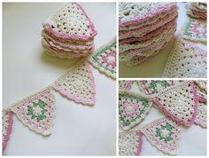 Estos banderines estan tejidos al crochet.<br />