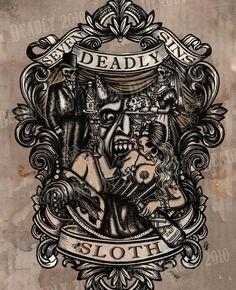 Sloth Art Print from Deadly Sin Tattoo, Sloth Tattoo, Body Art Tattoos, Tattoo Freedom, Badass Tattoos, Wrist Tattoo, Seven Deadly Sins Tattoo, Sloth Deadly Sin, Tattoo Homme