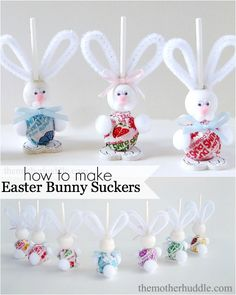 How to make the cutest Easter Bunny Suckers--Supplies list and instructions included.