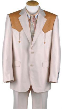 Product#PO270 Western cowboy suit traje vaquero Polyester Suit Set (Bone/Mango Ostrich)