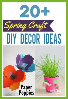Spring Craft DIY Decor Ideas - here are 20 ways you can make simple spring crafts that will brighten up your space into beautiful DIY decor ideas! Diy Home Decor Projects, Decor Ideas, Spring Banner, Diy Apartment Decor, Painted Mason Jars, Mason Jar Crafts, Diy Wreath, Spring Crafts, Paper Flowers