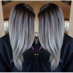 Haarschnitt für langes Haar fallen Neue Frisuren, Haarschnitt für lange Haare Herbst Onbre Hair, Balayage Hair Grey, Balayage Bob, Bayalage, Silver Grey Hair, Gray Hair, Dark Grey Hair Color, Black Hair, Brown Hair