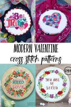 Cross stitch something for Valentine's Day this year! Check out this list of mod… Cross stitch something for Valentine's Day this year! Check out this list of modern Valentine's Day cross stitch patterns for needlepoint enthusiasts. Cross Stitch Kits, Cross Stitch Designs, Cross Stitch Patterns, Homemade Valentines, Valentine Day Crafts, Holiday Crafts, Fabric Crafts, Diy Crafts, Christmas Sewing