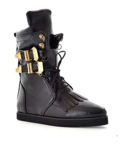 High Top Flat Boots with Brass Buckled Detail Flat Boots, Shoe Boots, Shoe Bag, Fringe Boots, Lace Up Boots, Boots 2014, Buckle Boots, Brass Buckle, Sock Shoes