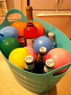 Freeze water balloons for icing down drinks