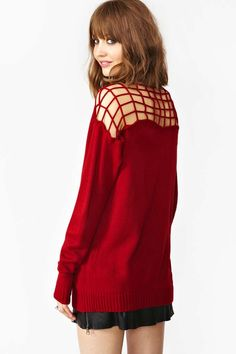 Caged Knit Cardi - Red