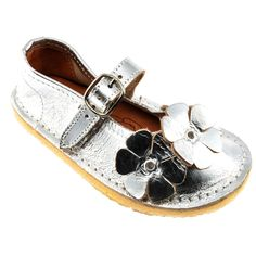 Flower Mary Janes Girls Silver <3