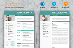 Clean Resume & Cover Latter Word Template. Elegant page designs are easy to use and customize, so you can quickly tailor-make your resume for any opportunity and help you to get your job. One Page Resume Template, College Resume Template, Cv Template, Creative Resume Templates, Resume Words Skills, Resume Writing Tips, Resume Tips, Business Resume, Resume Cv